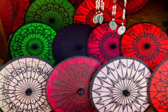 Colorful umbrellas on street market in Bagan, Myanmar